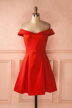 Lorsqu'elle sourit, une charmante fossette se dessine sur sa joue. When she smiles, a lovely dimple appears on her cheek. Leann Feu - Bright red off-shoulder dress www.1861.ca
