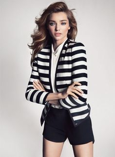 Miranda Kerr: New Mango Spring 2013 Campaign!: Photo Miranda Kerr shows off her fit body in these newly released images for Mango's Spring/Summer 2013 campaign! The model, who was announced as the new… Clothes For Summer, Style Miranda Kerr, Modelos Fashion, Striped Blazer, Striped Jacket, Black White Fashion, Fashion Models, Fashion Trends, Curvy Fashion