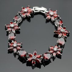 Garnet  Red AAA Zircon Silver Color 18cm Link Chain Bracelets Fashion Jewelry For Women Free Gift Box