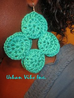 Urban Unique Diva Round Disc Earrings Light Teal by snchastang25, $10.00