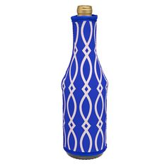 Wine Bottle Insulated Coozie-Royal/White - Occasionally Made - Classic Gifts with a Trendy Twist!