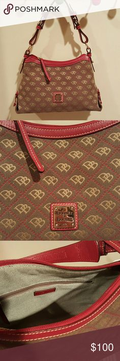 Dooney and Bourke authentic hobo Beautiful dark red, dark taupe and beige printed Dooney and Bourke hobo. Top zipper. Gold hardware. Only used a few times. Dooney & Bourke Bags Hobos