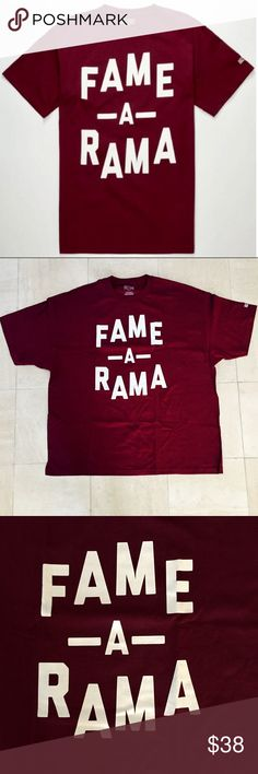 "Hall of Fame ""Fame-A-Rama"" Men's T-Shirt Hall of Fame ""Fame-A-Rama"" Men's T-Shirt: ""Fame-A-Rama"" screened at chest, 2nd sucks logo screened at back below neck, short sleeves, crew neck, made from 100% Cotton, never worn, and tagless collar for comfort. Hall of Fame Shirts Tees - Short Sleeve"