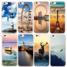 Silicone Soft TPU Phone Cases for iPhone 4 4S 5 5S SE 6 6S 7 Plus Back Cover Case Beautiful Scenery Painting Protective Shell