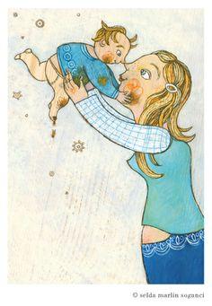 """Postkarten-Set """"Mutterliebe"""" - 3 Stück -  von Sweets for my Sweet - Schöne Dinge für die Liebsten auf DaWanda.com"""