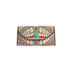 Turquoise Power Mary Frances Designer Clutch Handbag found on Polyvore featuring polyvore, fashion, bags, handbags, clutches, tribal purse, brown handbags, brown purse, envelope evening clutch and envelope clutch bag