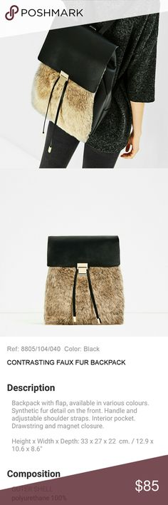 NWT Zara Contrasting Faux Fur Backpack 8805 Brand new & super chic :) The faux fur feels so luxurious! ZARA Contrast Faux Fur backpack, comes with Zara dustbag. From AW 16 Season. Vegan friendly! Buy it before I decide to keep! :) Reference # 8805 Zara Bags Backpacks