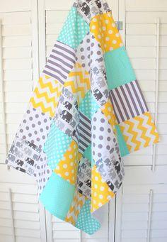 Baby Blanket, Unisex Patchwork Baby Blanket, Gender Neutral Nursery Decor, Crib Bedding, Elephants, Mint Green, Gray, Yellow, Chevron