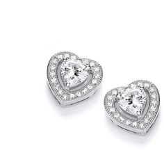 Rhodium Plated Sweetheart Stud Earrings ($46) ❤ liked on Polyvore