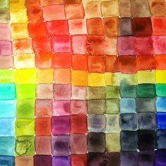 acuarela cuadrados multicolores