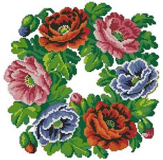 Poppies wreath vintage cross stitch pattern for Berlin wool work