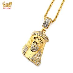 JFY Street Style Tide Brand Hip Hop Jesus Pendant Necklace Bling Iced Out Crystal Long Necklace Hip Hop Jewelry For Female/Male