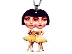 Acryl Kette Siamesische Zwillinge skurril von Dear Prudence auf DaWanda.com