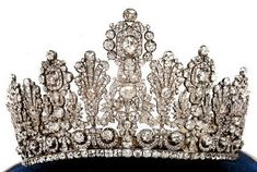 The Luxembourg Empire Tiara was first worn in 1919 by Grand Duchess Charlotte at her marriage to Prince Felix of Bourbon-Parma