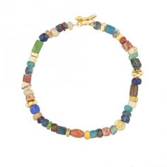 Elisa Solomon Jewelry 18 karat yellow gold multicolor ancient bead bracelet