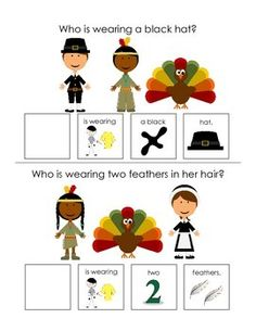 These interactive books are designed to help your students answer basic who and what questions. The first book focuses on who questions. Each page features pictures of a turkey, Native American, and Pilgrim as well as a who question about the picture.