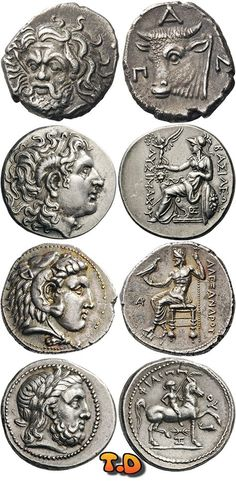 Greek coins, Thrace-Macedon from top to bottom: Tauric Chersonesos Pantikapaion AR Drachm; Lysimachos tetradrachm; Alexander III (The Great) tetradrachm; Phillip II tetradrachm