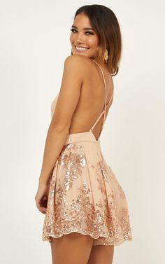 Boys Lining Up Playsuit In Rose Gold Sequin New Years Eve Dresses, Prom Dresses, Nylons, Formal Romper, Summer Outfits, Cute Outfits, Stylish Outfits, Mode Simple, Gold Outfit