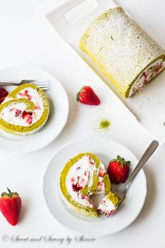 This strawberry matcha roll cake is an ultimate summer treat! Delicate sponge cake flavored with Japanese green tea powder and filled with whipped cream and  fresh strawberries.