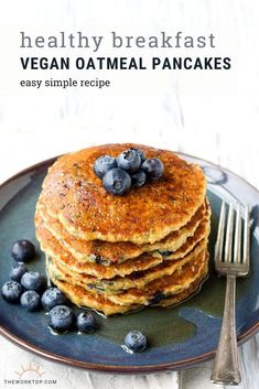 This recipe for Vegan Oatmeal Pancakes is easy and healthy My family loves these egg free pancakes in the morning for breakfast and brunch This simple vegan pancake is lo. Breakfast And Brunch, Vegan Breakfast, Balanced Breakfast, Breakfast Pancakes, Brunch Recipes, Breakfast Recipes, Vegan Recipes, Pancake Recipes, Baking Recipes