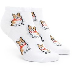Forever21 Corgi Print Ankle Socks ($1.90) ❤ liked on Polyvore featuring intimates, hosiery, socks, forever 21 socks, forever 21, ankle socks, patterned hosiery and print socks