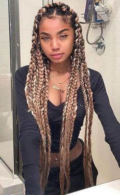 34 Unique Box Braids Hairstyle for Your Last Style Jumbo box braids result in . - 34 Unique Box Braids Hairstyle for Your Last Style Jumbo box braids result in a fast and easy pro - Baddie Hairstyles, Box Braids Hairstyles, Girl Hairstyles, Pretty Hairstyles, Hairstyles 2016, Dreadlock Hairstyles, Hairstyle Ideas, Wedding Hairstyles, Blonde Box Braids