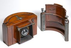 Sutton Panoramic camera with water-filled lens, about 1861. Includes a Silvy roll-holder back and a water-filled(?) integral spirit level. No manufacturer's plate but probably Thomas Ross of London.