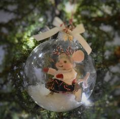 "Needle Felted ""Christmas Mouse Skater In Glass Ball"" Ornament...........Free U.S. Shipping Too! by JustFeltRite on Etsy"