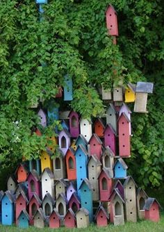 an interesting group of birdhouses found in ireland.  thank you, j