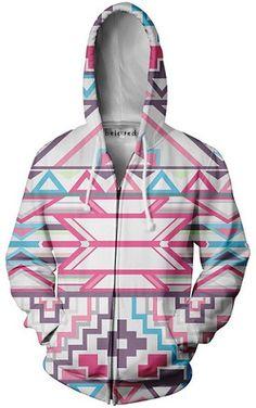 Beloved Shirts Pink Aztec Zip Up Hoodie - Premium All Over Print Jacket Sweater Weather, Beloved Shirts, Pink Galaxy, Rave Wear, Print Jacket, Festival Outfits, Hoodies, Sweatshirts, Zip Ups