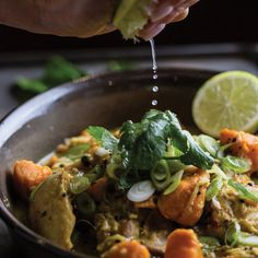chicken, Sweet Potato and Coconut Curry Sweet Potato Coconut Curry, Creamy Coconut Chicken, Steamed Green Beans, Green Curry, Main Meals, Main Dishes, Potatoes, Cooking, Ethnic Recipes