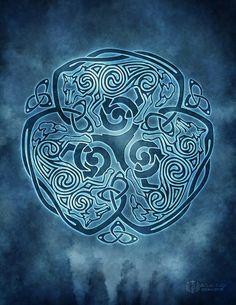 Inverno Lupo Lupo celtico Triskele Knotwork  pagana Wicca