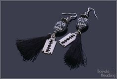 Funny Skull Earrings are a part of Beaded Fall Collection 2019 Designed August/October 2019 for Rutkovsky Beads . Skull Earrings, Beaded Skull, Fall Collections, Spikes, Cello, Beading, Brooch, Halloween, Funny