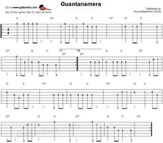 Guantanamera: easy guitar tablature