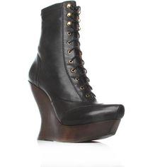 Mc Q Victorian Wedge Black ($455) ❤ liked on Polyvore