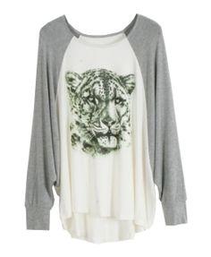 Casual Tiger Head Printed Cotton T-shirt