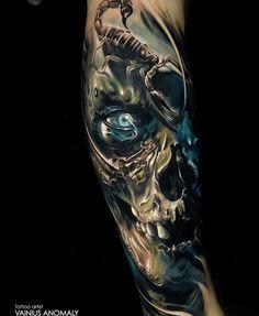 Skull scorpion tattoo by Vainius Anomaly , Skull Sleeve Tattoos, Quarter Sleeve Tattoos, Body Art Tattoos, New Tattoos, Tattoos For Guys, Tattoo Arm, Evil Tattoos, Badass Tattoos, Trendy Tattoos