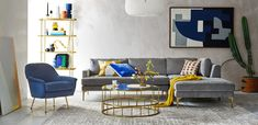 Shop Andes Sectional Set 21: XL Left Arm 2.5 Seater Sofa, XL Corner, XL Ottoman, Poly, Chenille Tweed, Feather Gray, Dark Pewter, Phoebe Chair, Performance Velvet, Ink Blue, Zelda Coffee Table, Antique Brass, Fulton Bookshelf - Antique Brass and more