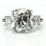 Art Deco GIA 5.57ct Vintage Cushion Diamond Three-Stone Engagement Wedding Platinum Ring