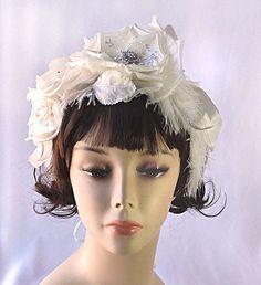 Ivory bridal floral crown flower wedding by JoyandFelicity on Etsy, $65.00