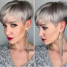 Silver platinum blonde hair color and perfect pixie haircut by Madeleine hotonbeauty.com