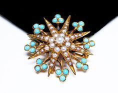 New Listings Daily - Follow Us for UpDates -  Victorian 14K Gold Pin - Turquoise and Seed Pearl Star or Snowflake Brooch - Signed 14K Victorian Pin - Estate Heirloom Jewelry  Description & Style:   This is a beautiful ... #vintage #jewelry #teamlove #etsyretwt #ecochic #thejewelseeker