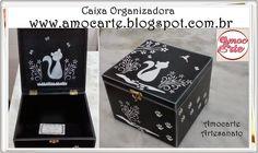 Peças organizadoras - tema gato madeira http://www.amocarte.blogspot.com.br/