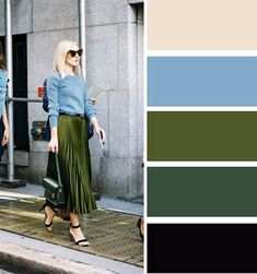 Analogous color combinations: muted blue and shining olive green skirt look incredible together.