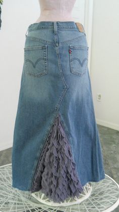 Lavande jean skirt lavender ruffle don't like these colors, just the concept of the ruffles added to the back.