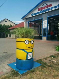 Minion at a tyre shop in Törtel- Hungary. The owner made it and I think, it's awesome!