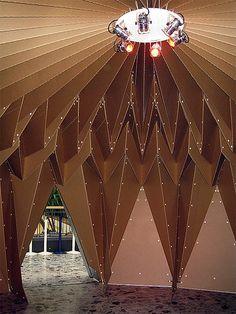 Miwa Takabayashi designed this cardboard structure Origami Furniture, Cardboard Furniture, Cardboard Design, Cardboard City, Folding Architecture, Architecture Design, Pavillion Design, Interior Exterior, Interior Design
