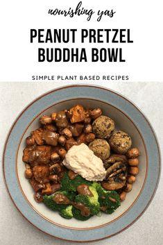 Vegan Peanut Butter Pretzel Buddha Bowl | Nourishing Yas - Simple Plant based Recipes  #veganrecipes #veganmains #veganlunch #vegandinner #buddhabowls #hummus #pretzels #peanutbutter #healthyrecipes #peanutsatay