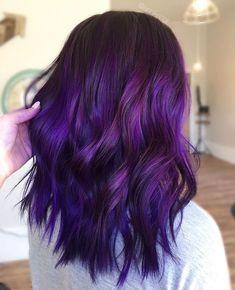 Hairstyles Fall Winter Ultraviolet 19 - Best HairStyles For All Dark Purple Hair Color, Vivid Hair Color, Hair Dye Colors, Burgundy Hair, Ombre Hair Color, Hair Color Balayage, Cool Hair Color, Purple Ombre Hair Short, Purple Wig