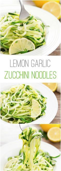 Lemon Garlic Zucchini Noodles. A light and quick meal! More